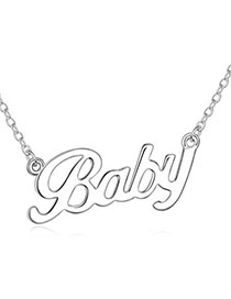 Specialty Silver Color Letter Baby Shape Decorated Simple Design Alloy Crystal Necklaces