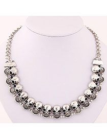 Girls Silver Color Skull Shape Decorated Simple Design Alloy Bib Necklaces
