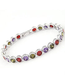 Patagonia Multicolor Diamond Decorated Simple Design Zircon Fashion Bracelets