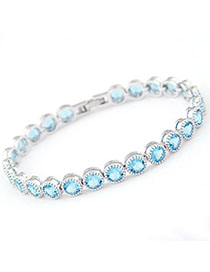 Mysterious Sky Blue Diamond Decorated Simple Design Zircon Fashion Bracelets