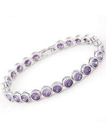 Avalon Ligth Purple Diamond Decorated Simple Design Zircon Fashion Bracelets