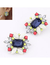 Sparking Dark Blue Diamond Decorated Flower Design