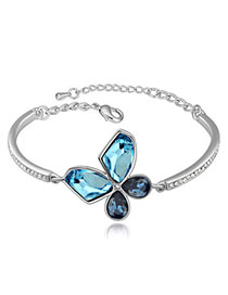 Expired Navy Blue & Dark Blue Butterfly Shape Decorated Simple Design Alloy Crystal Bracelets