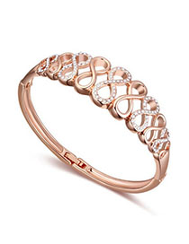 Discount White & Rose Gold Diamond Decorated Eight Shape Design Alloy Crystal Bracelets