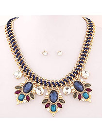 Barbie Blue Gemstone Decorated Simple Design Alloy Jewelry Sets
