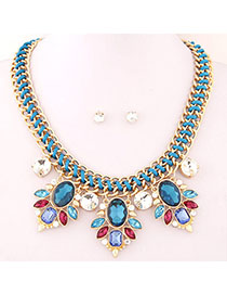 Mustard Navy Blue Gemstone Decorated Simple Design Alloy Jewelry Sets