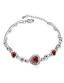 Montgomery Red Diamond Decorated Heart Shape Design Alloy Crystal Bracelets