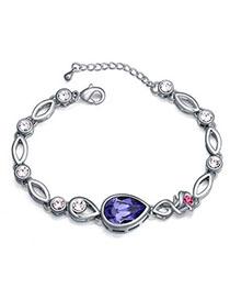 Slim Pinkish Purple Diamond Decorated Waterdrop Shape Design Alloy Crystal Bracelets
