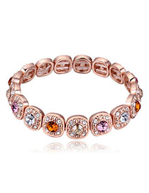 Sullen Multicolor Diamond Decorated Oval Shape Design Alloy Crystal Bracelets