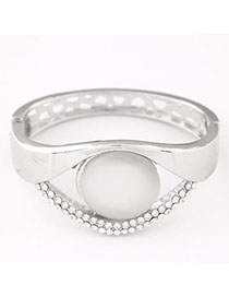 Funeral Silver Color Diamond Decorated Eye Shape Design Alloy Fashion Bangles