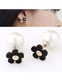 Revealing Black Flower Shape Decorated Simple Design Alloy Stud Earrings