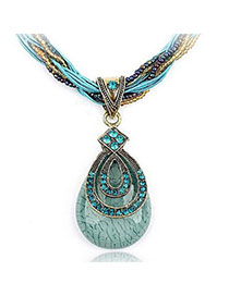 Wishbone Blue Diamond Decorated Waterdrop Pendant Design