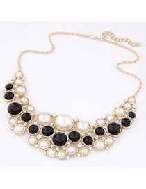 Personal Beige & Black Pearl Decorated Multilayer Design