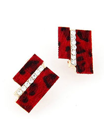 Gored Red Diamond Decorated Geometrical Shape Design Alloy Stud Earrings