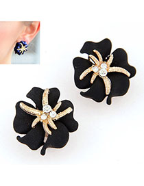 Caspari Black Diamond Decorated Flower Design Alloy Stud Earrings