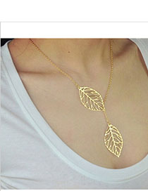Spiritual Gold Color Leaf Shape Decorated Simple Design Alloy Chains
