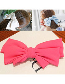 Caterpilla Plum Red Pure Color Bowknot Shape Simple Design Alloy Hair Clip Hair Claw