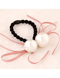 Promise Pink Pearl Decorated Bowknot Shape Design Alloy Hair Band Hair Hoop
