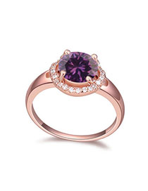 Handcrafte Purple & Rose Gold Diamond Decorated Simple Design Zircon Crystal Rings