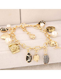 Memorial Gold Color Pearl Decorated Multi-element Design Alloy Korean Fashion Bracelet