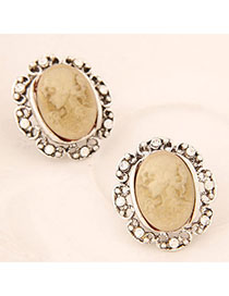 Synthetic Gold Color diamond decorated Lady pattern design Alloy Stud Earrings