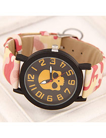 Mysterious Yellow Skull Pattern Simple Design Alloy Ladies Watches