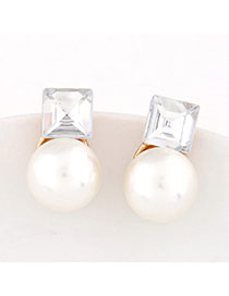 Rave White Pearl Decorated Square Shape Design Alloy Stud Earrings