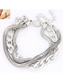 Healing Silver Color Metal Chain Simple Design Alloy Korean Fashion Bracelet