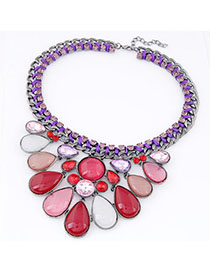 Simple Red & White Diamond Decorated Waterdrop Shape Design Alloy Fashion Necklaces