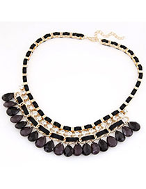 Rave Black Diamond Decorated Waterdrop Shape Design Alloy Bib Necklaces