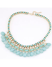 Aquamarine Blue Diamond Decorated Waterdrop Shape Design Alloy Chains