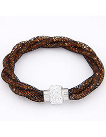 Baptism Orange Diamond Decorated Weave Design Alloy Korean Fashion Bracelet