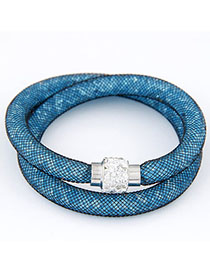 Steelers Blue Diamond Decorated Double Layer Design Alloy Korean Fashion Bracelet