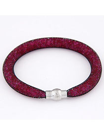 Fit Plum Red Diamond Decorated Hollow Out Design Alloy Korean Fashion Bracelet