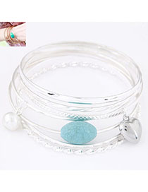 Used Silver Color Heart Shape Decorated Multilayer Design Alloy Fashion Bangles