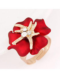 Inspiratio Red Diamond Decorated Flower Design Alloy Korean Rings