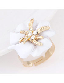 Flirty White Diamond Decorated Flower Design Alloy Korean Rings