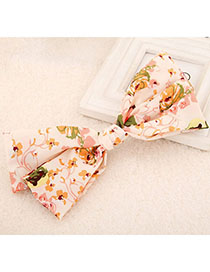 Costume Pink Flower Pattern Bowknot Shape Design Fabric Hair Clip Hair Claw