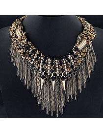 Rave Black Gemstone Decorated Rivet Tassel Design