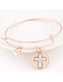 Luxury Rose Gold Cross Shape Decorated Simple Design Alloy Fashion Bangles