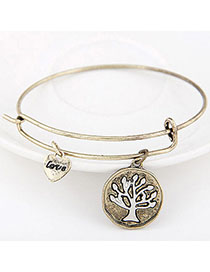Online Bronze Tree Shape Decorated Simple Design Alloy Fashion Bangles