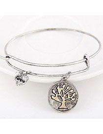 Street Antique Silver Tree Shape Decorated Simple Design Alloy Fashion Bangles