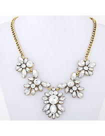 Noble White Diamond Decorated Flower Design