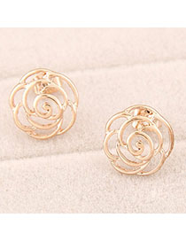 Rubber Gold Color Rose Shape Decorated Hollow Out Design Alloy Stud Earrings