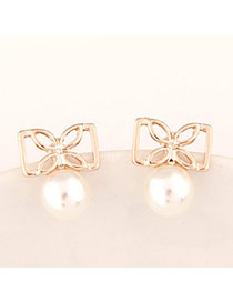 Hiking Gold Color Pearl Decorated Bowknot Shape Design Alloy Stud Earrings