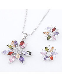 Correspond Multicolor Diamond Decorated Flower Design Zircon Fashion Bracelets