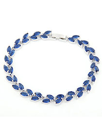 Lovable Blue Diamond Decorated Leaf Shape Design Zircon Fashion Bracelets