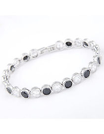 Roll Black & White Diamond Decorated Simple Design Zircon Fashion Bracelets