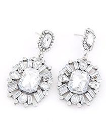 Noble White Gemstone Decorated Flower Design Alloy Stud Earrings