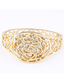 Baptism Gold Color Diamond Decorated Hollow Out Design Alloy Fashion Bangles